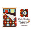 ornamental pattern sample and bed vector image vector image