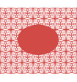 oval on mesh geometric ornament red and white vector image