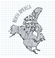 Pencil hand drawn North America map on vector image