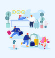 people arrive and leave hotel businessman stand vector image