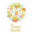 rabbit easter eggs flowers set in circle vector image vector image