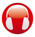 red headphone emblem icon vector image vector image