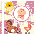 scrapbooking card for baby girl vector image vector image