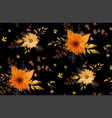 seamless floral pattern orange yellow gerbera vector image vector image