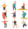 senior characters leading active lifestyle doing vector image