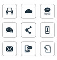 set of simple blogging icons vector image vector image