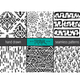 Set of six hand drawn tribal seamless black and vector image vector image
