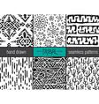 set of six hand drawn tribal seamless black vector image
