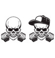 skull with barbell in teeth in engraving style vector image vector image