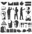 street art black white icons set vector image vector image
