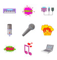 studio vocal icons set cartoon style vector image vector image