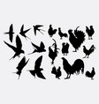 swallow and rooster silhouette vector image vector image