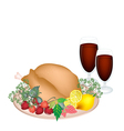 Thanksgiving Turkey with Lemon Berry Fruit vector image vector image