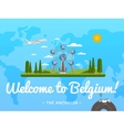 Welcome to Belgium poster with famous attraction vector image vector image