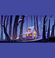 wooden house in winter forest at night vector image
