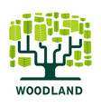 woodland isolated icon tree forest ecology and vector image vector image
