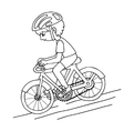 Edit boy on a bicycle contur drawing