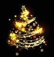 abstract christmas tree with bokeh effect festive vector image