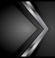 black technology background with metallic arrow vector image vector image