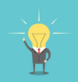 businessman with lightbulb head vector image vector image