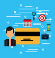 businessman with set icons vector image vector image