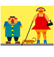 caricature man and woman vector image