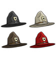 cartoon canadian ranger top hat icon set vector image vector image