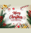 christmas background with fir tree branches and de vector image vector image