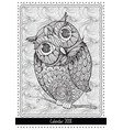 christmas owl calendar cover design for 2018 year vector image vector image
