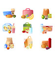 collection of lunch boxes with healthy food vector image