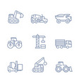 construction vehicles icons linear style vector image vector image