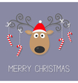 cute cartoon deer with curly horns red hat and vector image vector image
