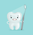 cute cartoon tooth character with dental tool vector image vector image