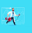 doctor running with defibrillator medical clinics vector image vector image