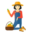 Farmer collecting carrots vector image vector image