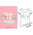 fashion print for summer t shirt with unicorns vector image vector image