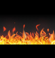 fire flames and sparks on transparent background vector image
