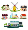 flat design buildings family house windmill vector image vector image
