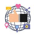 globe hand like love share email social media vector image