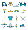golf icons set symbols cartoon style vector image vector image