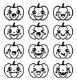 Halloween Kawaii cute black pumpkin icons vector image vector image