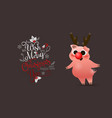happy chinese new year of pig poster card with vector image
