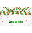 india garland flag with confetti on transparent vector image vector image
