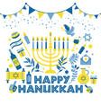 jewish holiday hanukkah greeting card traditional vector image vector image