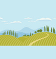 landscape with green hills and mountains vector image vector image