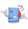 listening music office binder mascot blank copy vector image