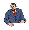 meeting businessman with smartphone vector image vector image
