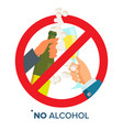 no alcohol sign strike through red circle vector image