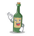 okay wine bottle character cartoon vector image
