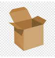 opened brown carton box mockup realistic style vector image vector image